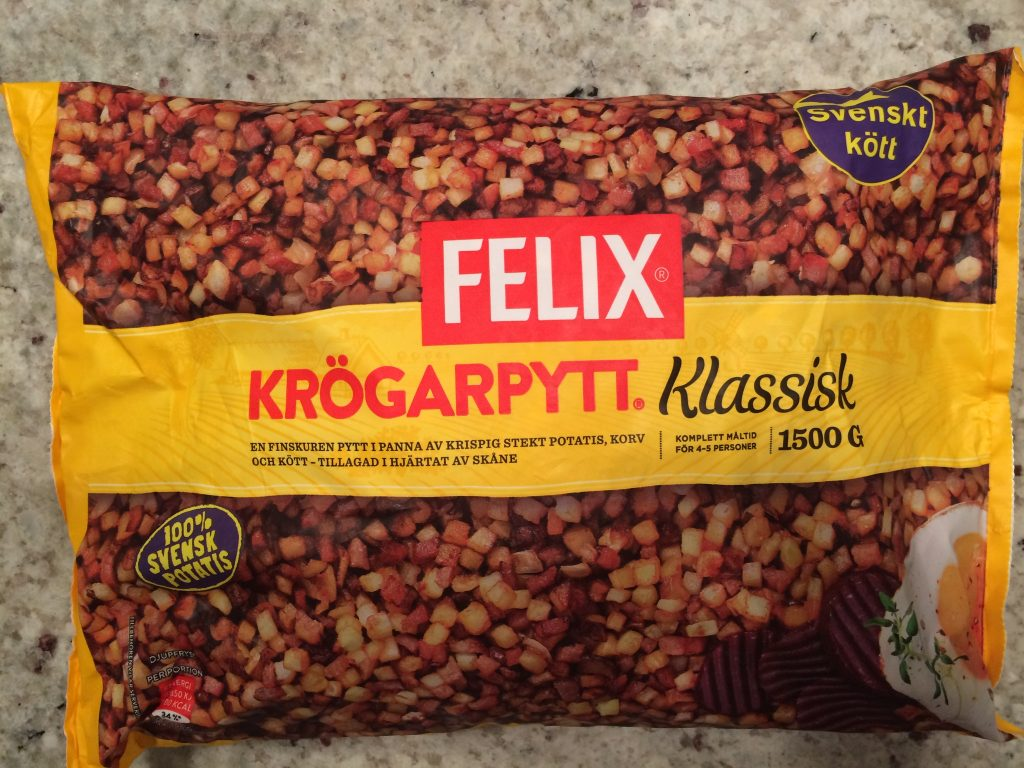 Felix krögarpytt innehåller svenskt kött och svensk potatis.