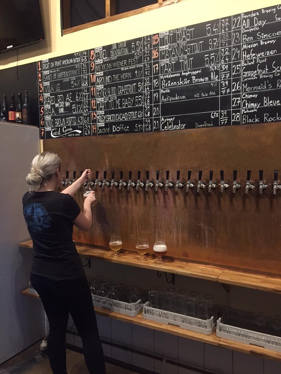 Taproom på Malmö brewing - en av de bästa ölbarerna 2017. Bilden tagen vid ett besök några år dessförinnan. Foto: Joel Linderoth.