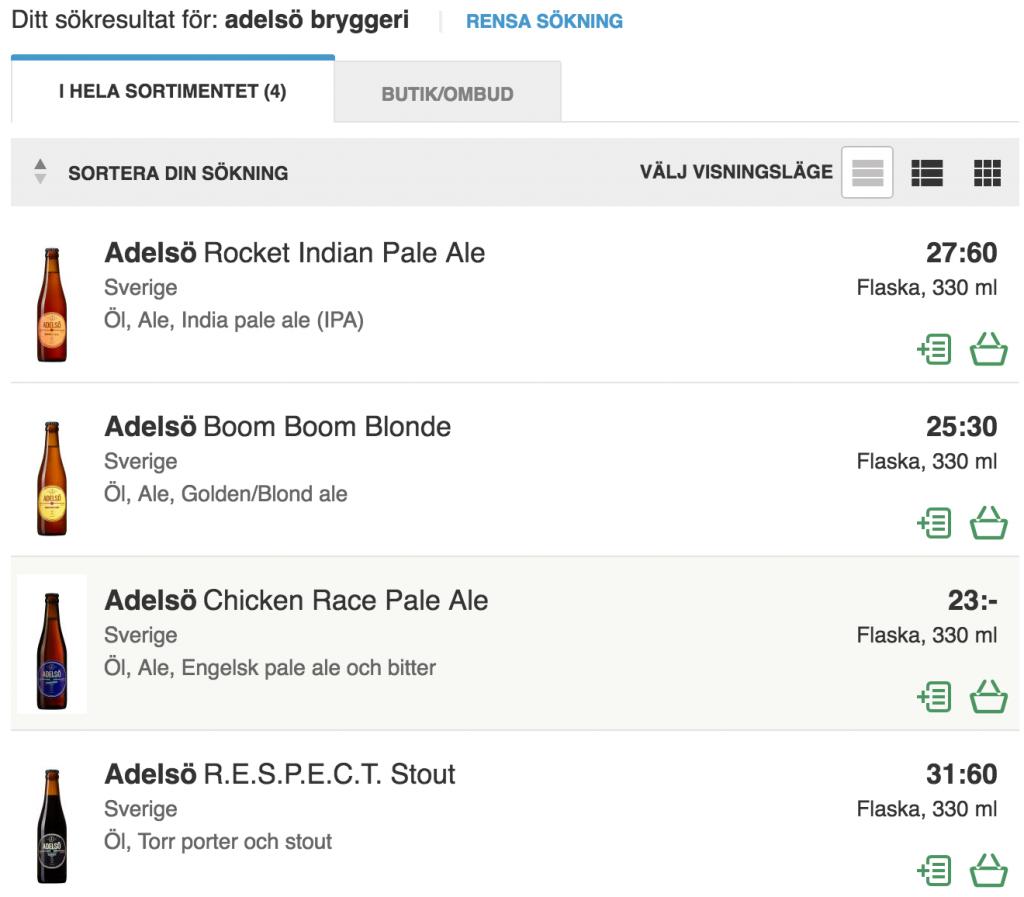 Sökresultat Adelsö bryggeri på Systembolaget.se. Foto: Skärmdump.