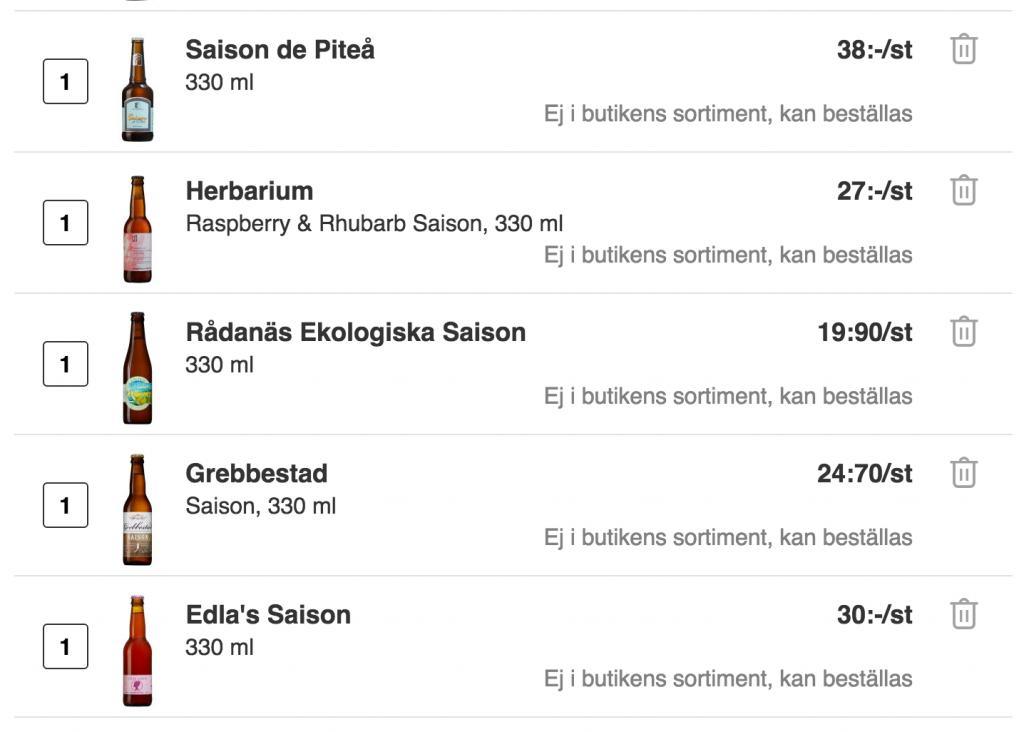 Beställning av saison på Systembolaget.se. Foto: Skärmdump.