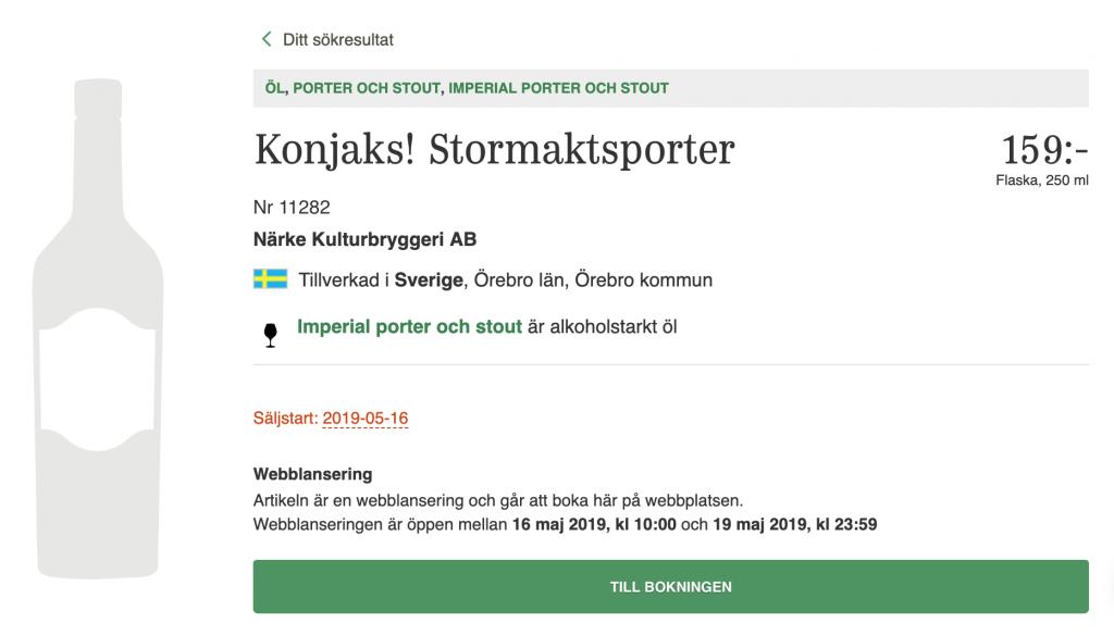 Skärmdump från Systembolaget.