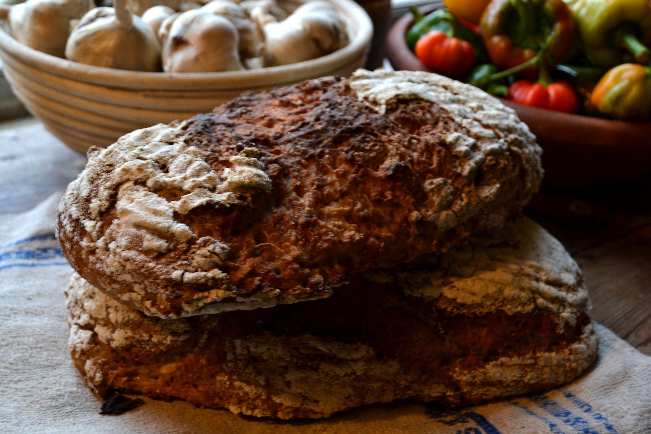 Nybakade bröd på en bakhandduk på ett träbord.
