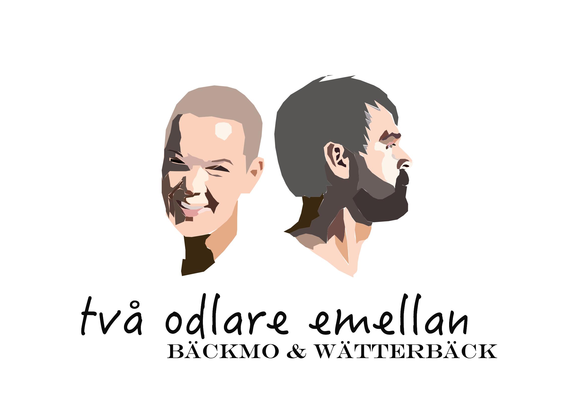 Bild på podcastens logga med animerade ansikten av Sara och Johannes.