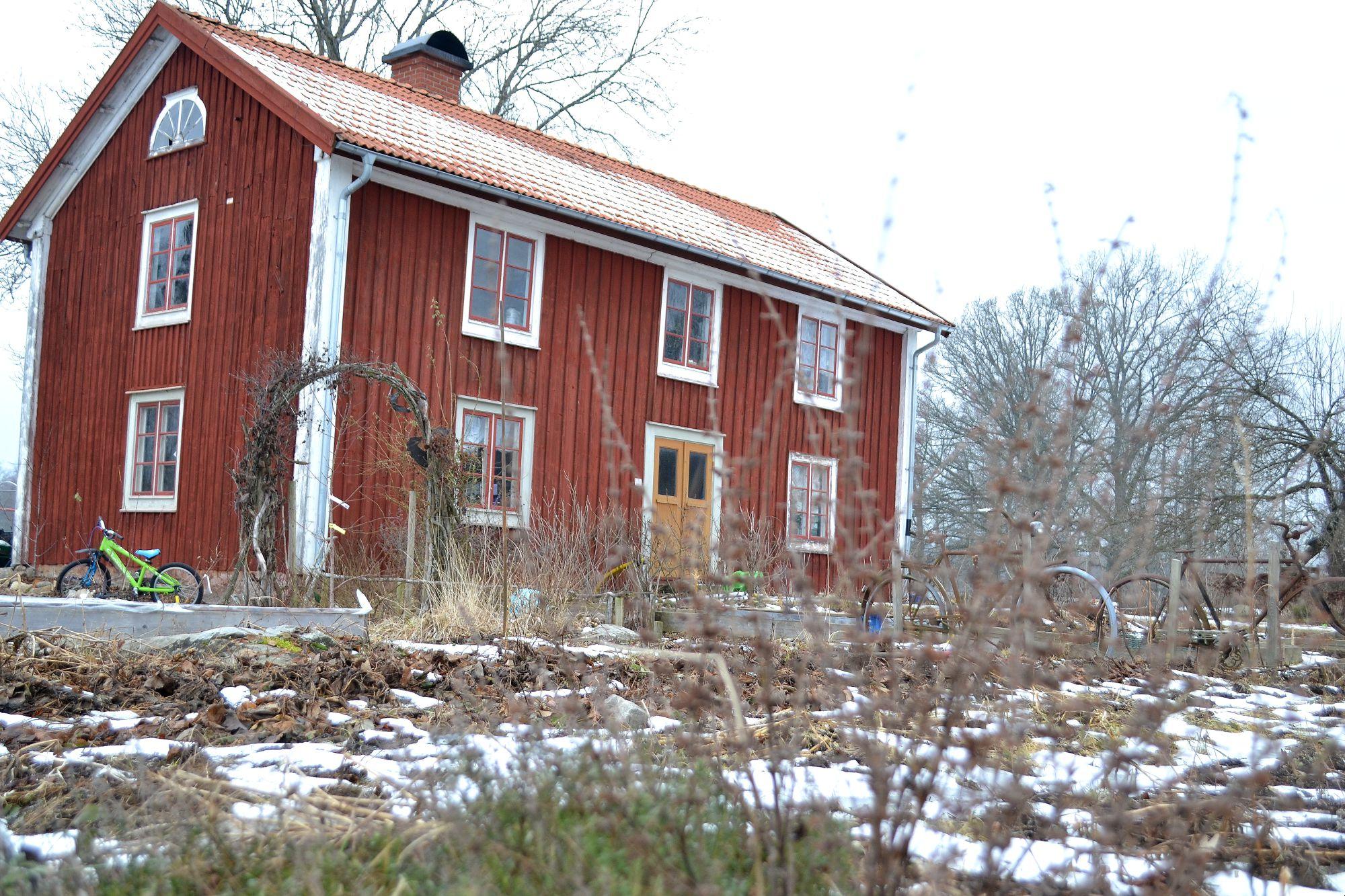 Köksträdgården framför huset i vinterskrud.