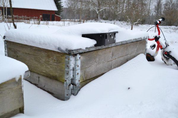 Pallkragar med lock på i snön.