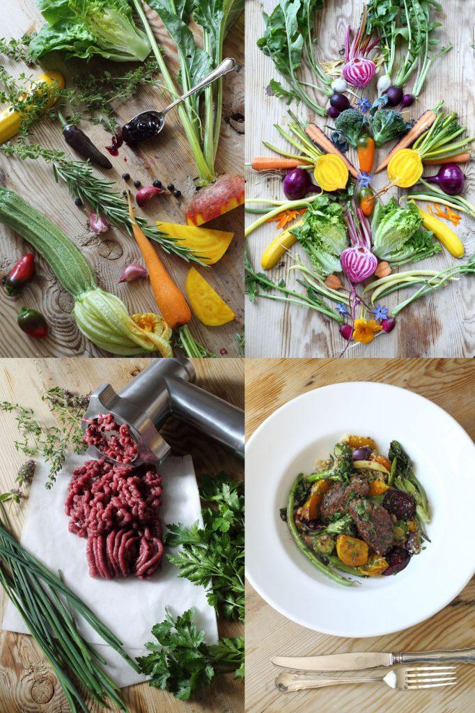 marinerade grönsaker, hjortfärsbiffar, galleri