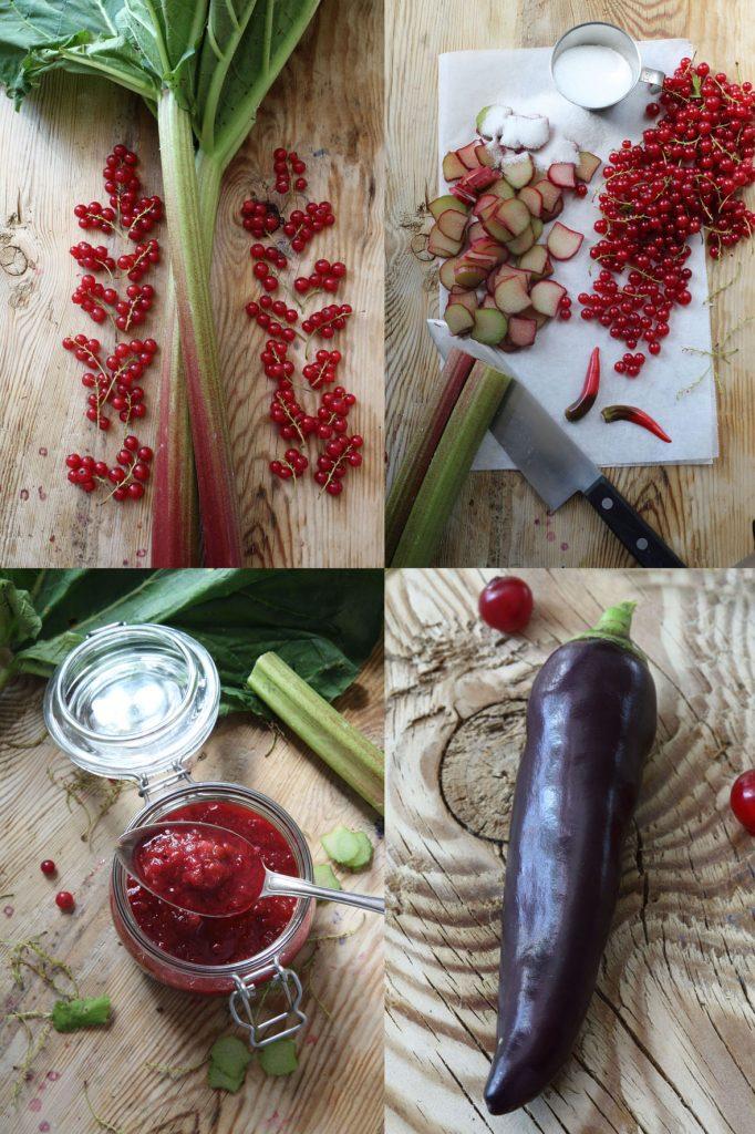 chutney, rabarber och röda vinbär