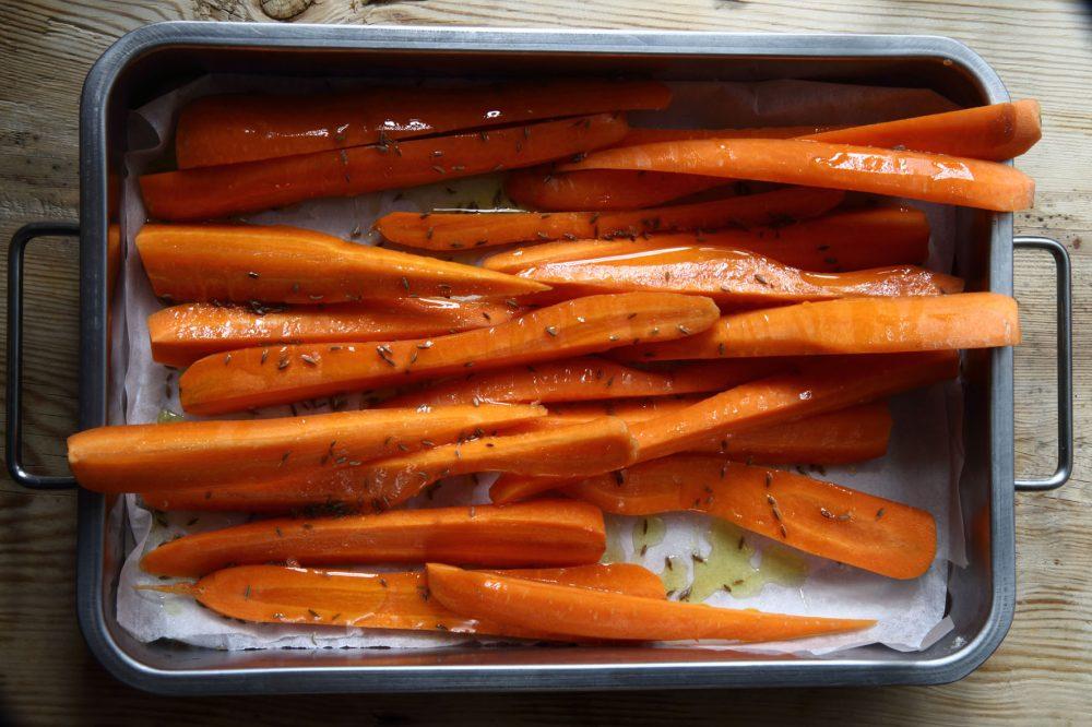 morötter, rostade